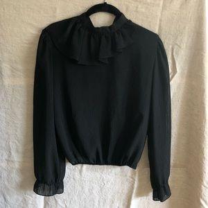 Vintage Semi-Sheer Black Blouse.